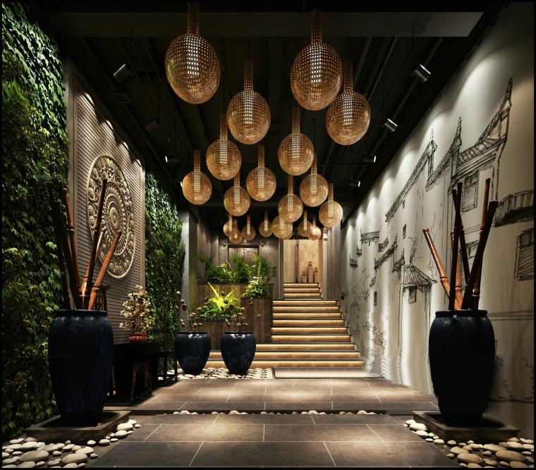 中式竹质绿植玄关3D模型