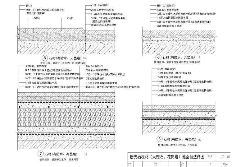 [金螳螂]石材楼地面收口节点详图(含施工说明)-石材地面大样图(2)