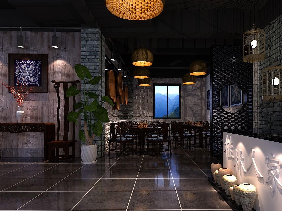 新中式中餐厅成套3D模型(附效果图)