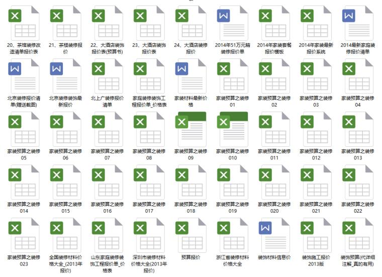 180套家装工装预算报价+CAD施工图+3D效果图+装修材料价格表_3
