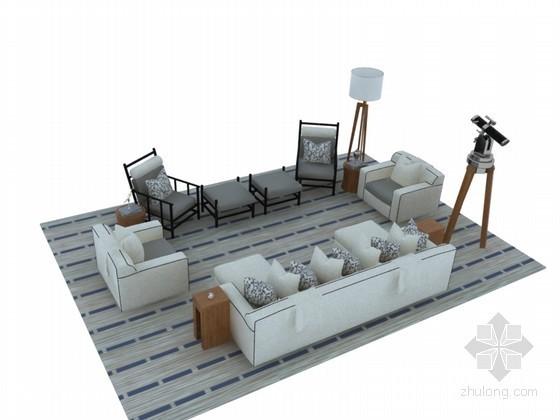 美式沙发茶几3D模型下载
