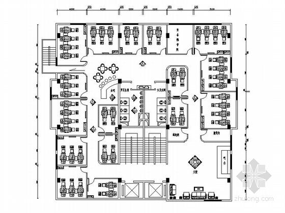 泰式风格足浴会所室内设计CAD装修图(含效果)