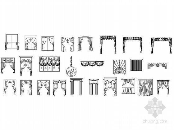 ins风格装修店面资料下载-各式风格窗帘CAD图块下载