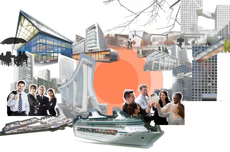 4套AECOM效果图素材-商务休闲拼贴风格景观效果图PSD分层(2)