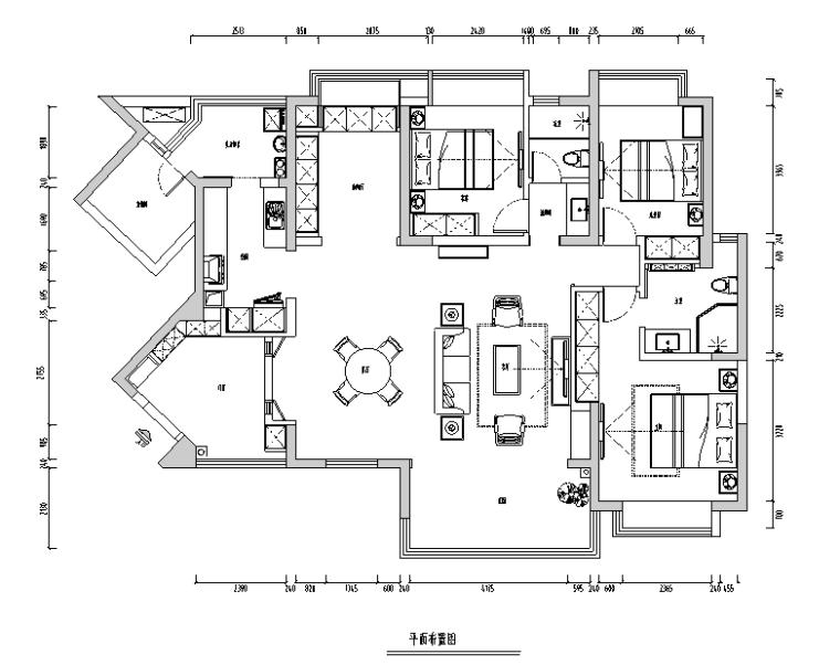 锦瑟|新中式美式混搭风样板间设计施工图(