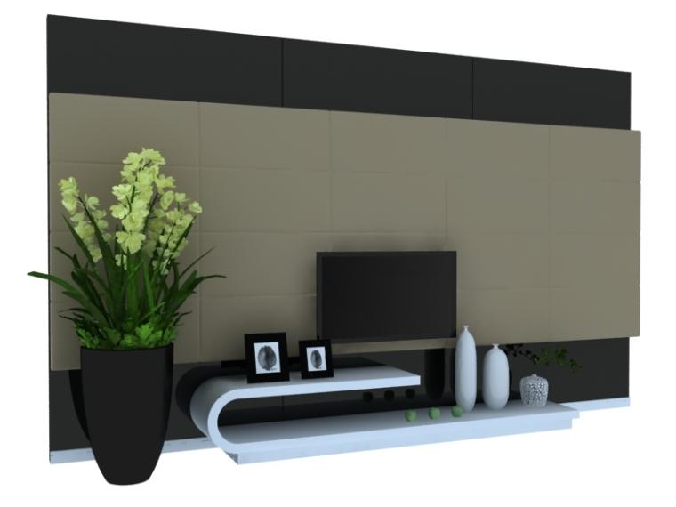 时尚电视墙3D模型下载