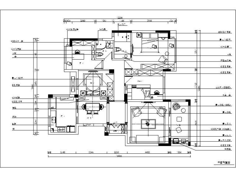 [武昌]精致美式三居室装修设计施工图(含实景图)