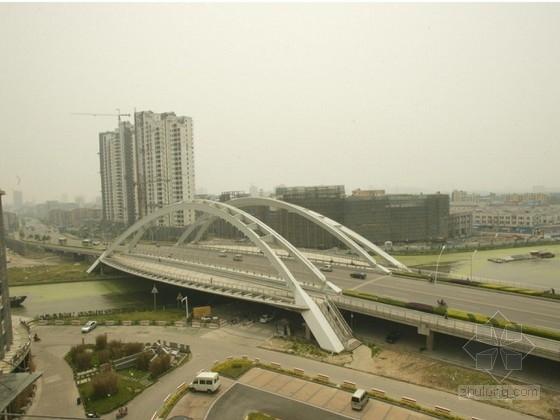 [江苏]跨度110m新型斜靠式拱梁组合体系拱桥施工图119张(城市地标)