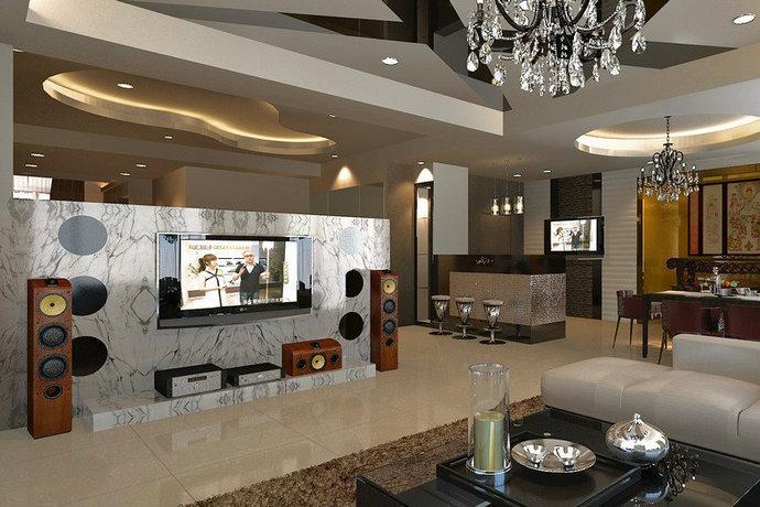231平现代四房两厅卧室电视墙装修效果图