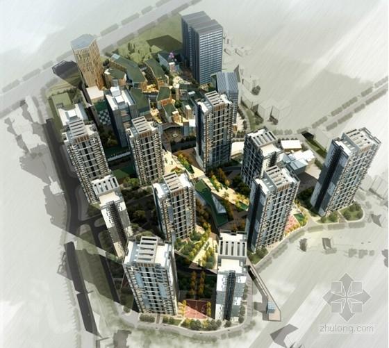 [重庆]围合式空间城市综合体规划设计方案文本(设计精彩推荐参考)-围合式空间城市综合体规划效果图