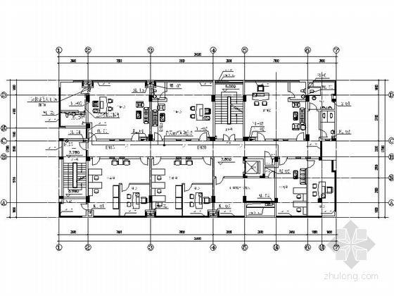 现代风格六层办公楼平面图