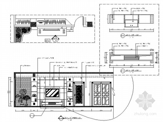 现代时尚三室两厅设计装修图客厅立面图