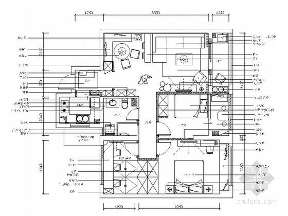 [浙江]精品名师设计田园北欧三室一厅装修施工图(含效果)