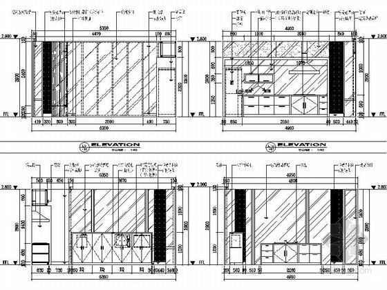[苏州]水岸社区典雅新中式三层别墅装修施工图餐厅立面图