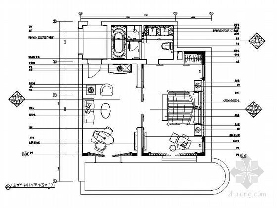 [江苏]C型豪华套间客房装修施工图
