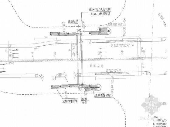 [广东]墩梁固接4.8m宽跨度44.1m钢桁架梁结构人行天桥设计图38张