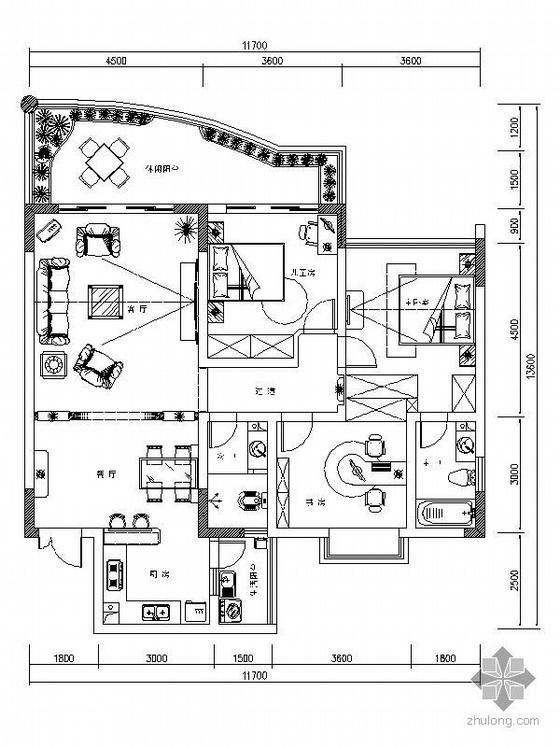 [重庆]三室两厅设计方案
