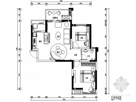 [郑州]黑白搭配现代风格两居室样板房装修图(含效果)