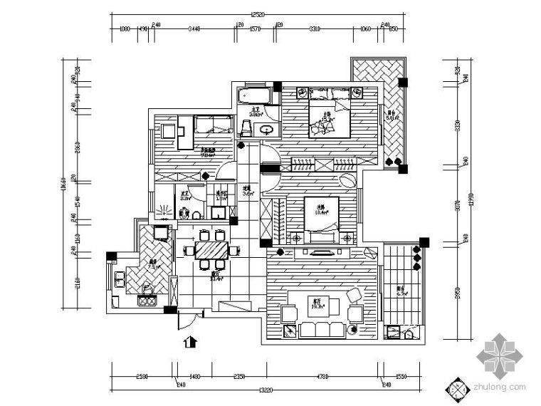 124㎡现代三居装修图(含效果)