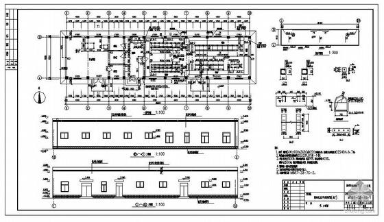 某城市污水处理厂变配电室及中央控制室建筑结构图