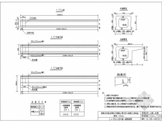 [通用]16米空心板构造图设计(含设计说明)