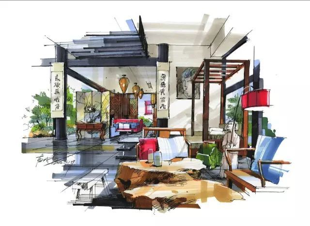 室内手绘 室内设计手绘马克笔上色快题分析图解_17