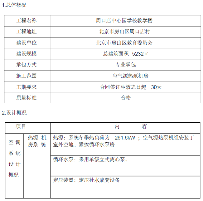 周口店中心园教学楼项目空气源热泵机房系统施工方案(73页)