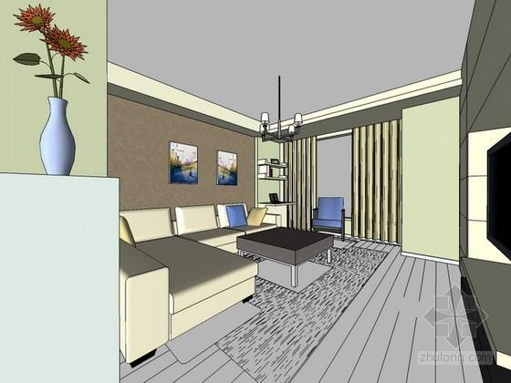 现代风格室内场景sketchup模型下载