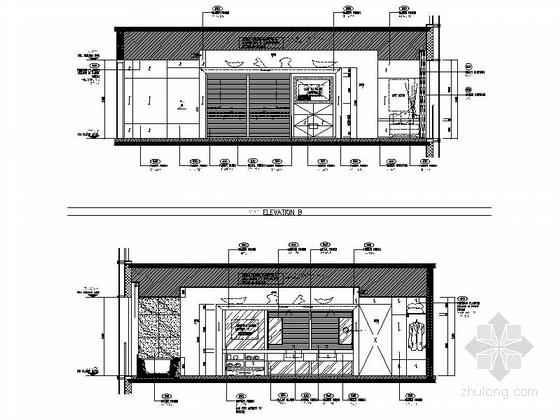 [上海]高级五星级豪华酒店客房室内装修施工图(含效果)立面图