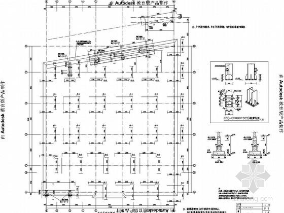 [济南]四层钢框架结构车间办公楼结构图(局部五层)