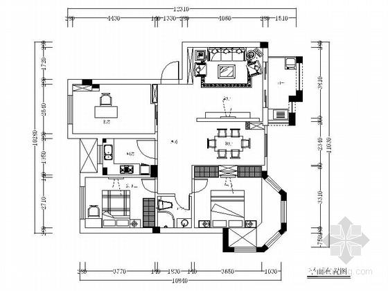 [福建]水岸社区简欧风格三居室装修施工图(含效果)