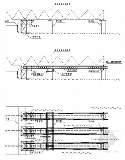 应用贝雷桁架梁平台施工大跨度钢桁架施工工法