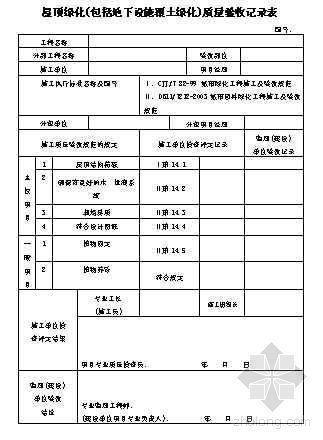 屋顶绿化(包括地下设施覆土绿化)质量验收记录表