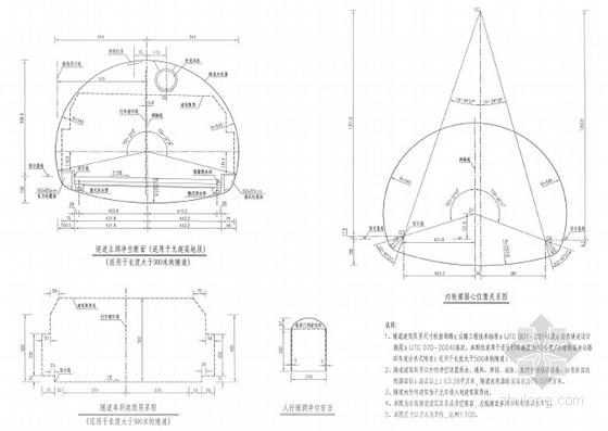 [福建]主洞净宽10.25m公路单向双车道新奥法复合衬砌隧道设计图纸195页