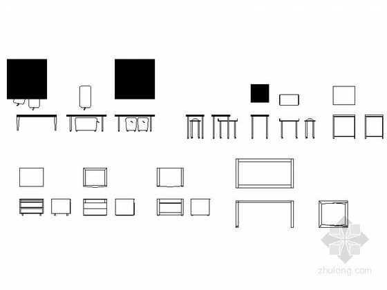 现代简约家具CAD图块下载