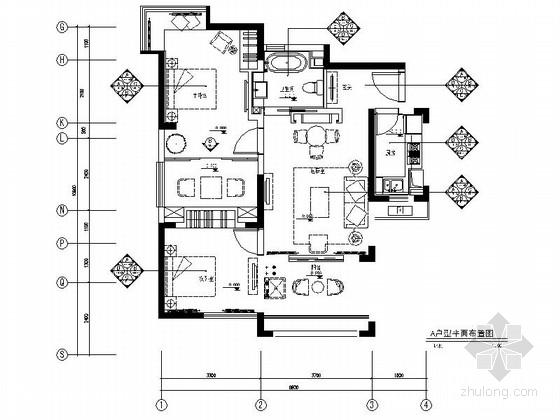 [上海]现代简约风格两居室室内装修施工图(含效果)