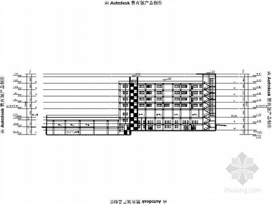 5层现代风格小学教学楼建筑剖面图