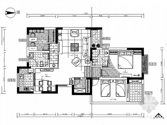 [江苏]现代简约风格三居室室内装修CAD施工图