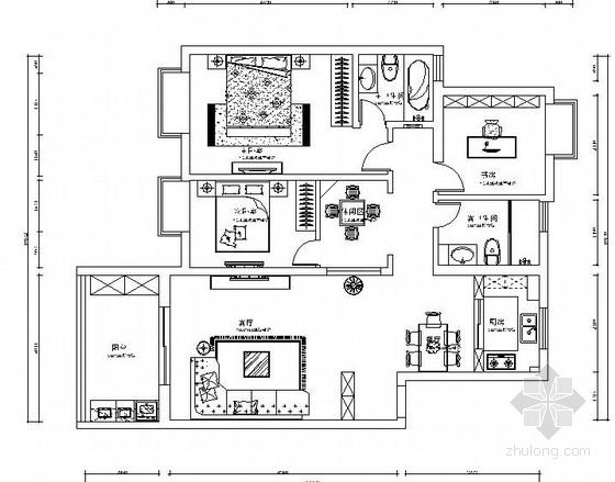 淡雅幽静新中式设计风格家居室内施工图
