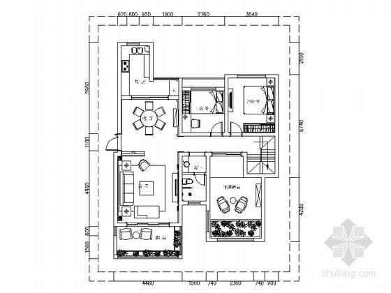 温馨浪漫欧式风格复式样板间CAD装修施工图(含效果)