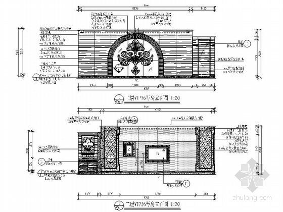 [广东]名师设计高档四星级国际酒店装修图VIP号房立面图