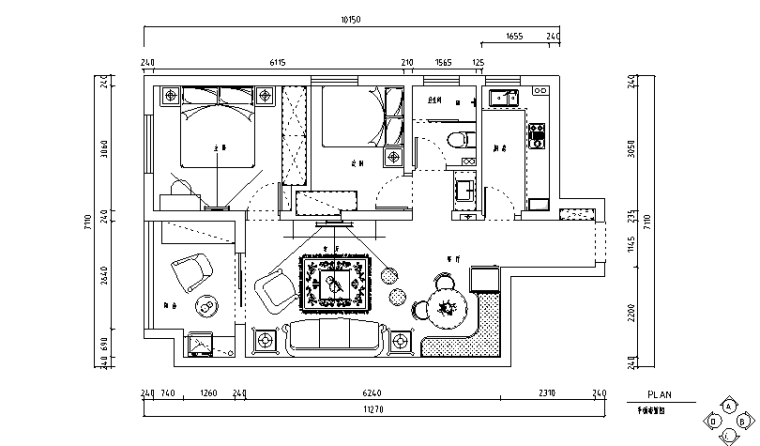 地中海田园风百步亭二居室住宅设计施工图(附效果图)