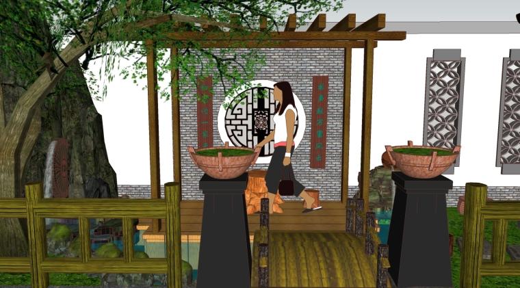中式小庭院景观SU模型