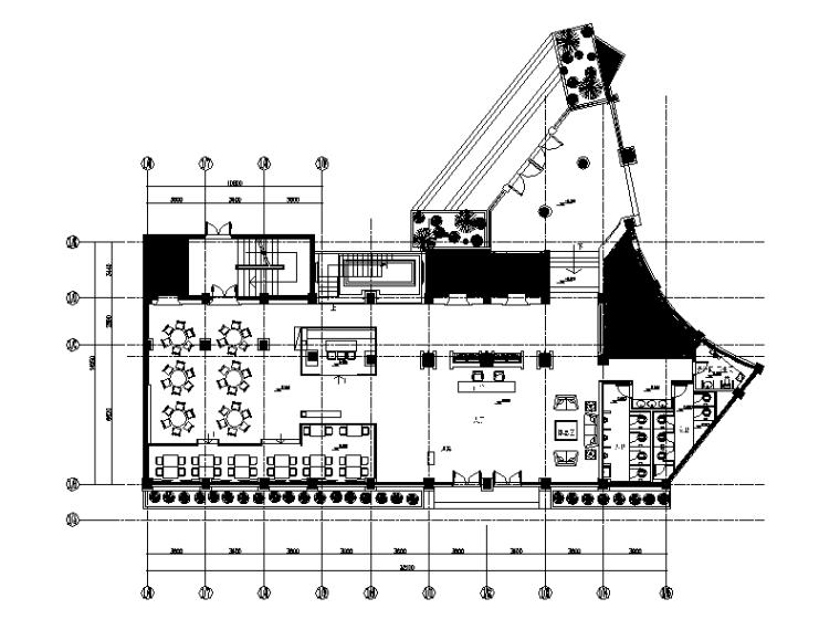 [湖北]现代度假酒店餐厅设计CAD施工图(含效果图)