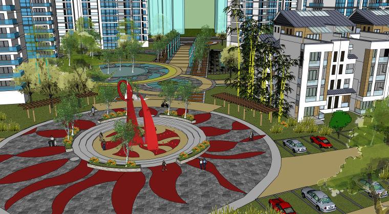完整小区规划建筑模型设计