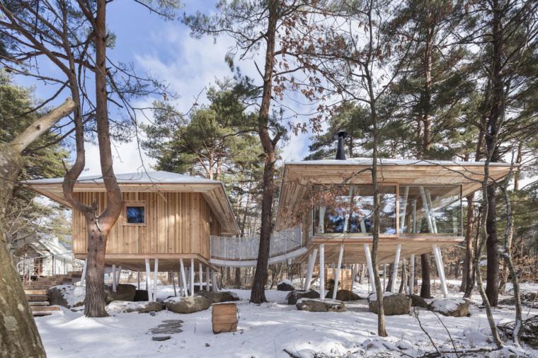 雪地中的现代干阑式住宅