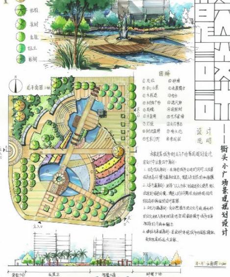 32套街头绿地快题手绘方案