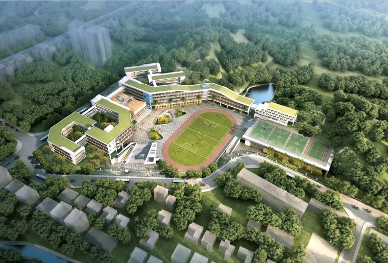 [广东]某新区学校建筑设计文本-鸟瞰图