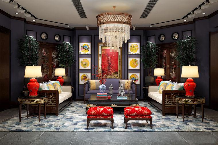 新古典客厅沙发|茶几|吊灯组合3D模型