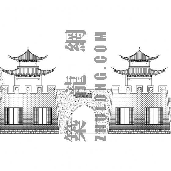 上海古城公园古建--古墙遗韵城楼大样图